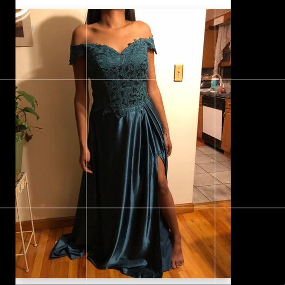 Dresses Over The Shoulder Dark Teal Prom Dress Poshmark